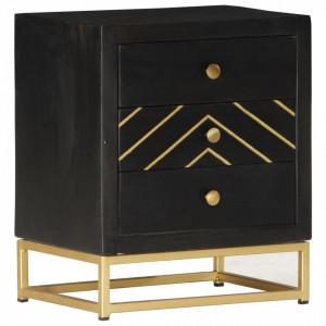 Noptiera, negru si auriu, 40 x 30 x 50 cm, lemn masiv de mango - V286517V