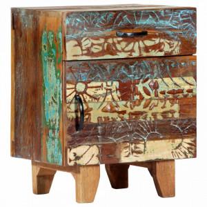 Noptiera sculptata manual, 40 x 30 x 50 cm, lemn masiv reciclat - V247911V