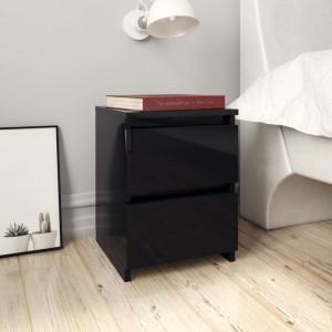 Noptiere, 2 buc., negru foarte lucios, 30 x 30 x 40 cm, PAL - V800528V