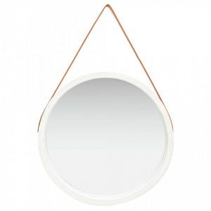 Oglinda de perete cu o curea, 60 cm, alb - V320368V