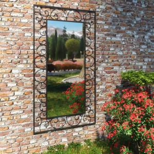 Oglinda de perete de gradina dreptunghiulara 60x110 cm negru - V275610V