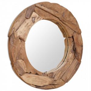 Oglinda decorativa Lemn de tec 80 cm Rotunda - V244561V