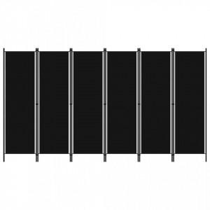 Paravan de camera cu 6 panouri, negru, 300 x 180 cm - V320730V