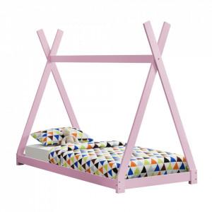 Pat copii Anando, 208 x 96 x 163 cm, lemn de brad, roz, design cort indian, de la 3 ani, fara saltea, stabil - P64038173