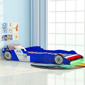 Pat copii masina de curse, cu LED, 90 x 200 cm, albastru - V243937V