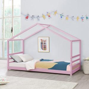 Pat copii Vardo DG90, 206 x 98 x 142 cm, lemn/furnir, roz mat lacuit - P71303287