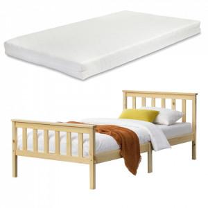 Pat lemn Breda 90NH, 90 x 200, lemn brad, 100 Kg, culoarea lemnului cu gratar pat si saltea spuma rece - P72074959
