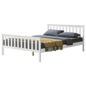 Pat lemn Wood, 208 x 148 x 82 cm, lemn/pal, 200 Kg, alb, pentru 2 persoane - P65373550