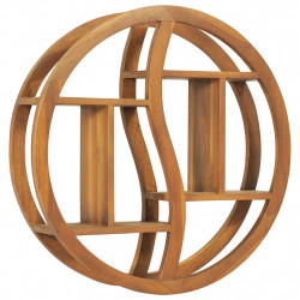 Raft de perete Yin Yang, 60x15x60 cm, lemn masiv de tec - V320770V