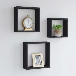 Rafturi cub de perete, 3 buc., negru, MDF - V323950V
