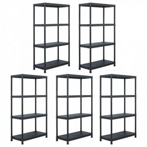 Rafturi de depozitare, 5 buc. negru, 60 x 30 x 138 cm plastic - V276252V