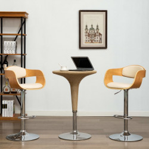 Scaun de bar, crem, lemn curbat si piele ecologica - V283120V