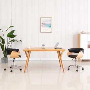 Scaun de birou pivotant, negru, lemn curbat si piele ecologica - V3054833V
