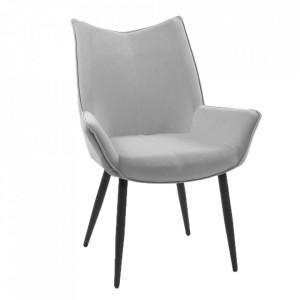 Scaun de masă, ţesătură de catifea gri / negru, MAIRIN TIP 1