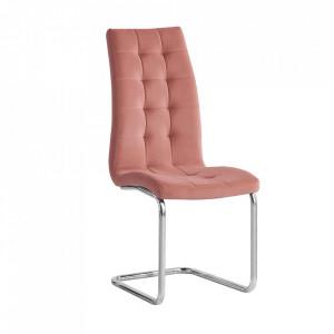 Scaun de masă, ţesătură de catifea roz / crom, SALOMA NEW