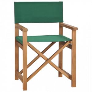 Scaun de regizor, verde, lemn masiv de tec - V47413V