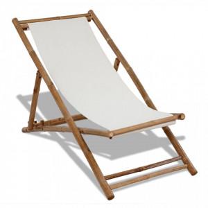 Scaun din lemn de bambus si panza - V41491V
