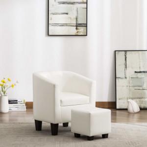 Scaun fotoliu cu taburet, alb, piele ecologica - V248060V