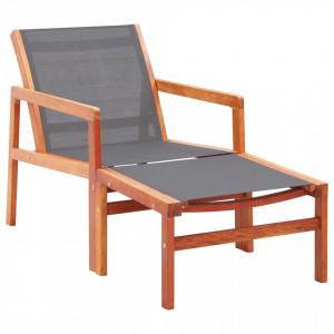 Scaun gradina cu taburet, gri, lemn masiv eucalipt & textilena - V48698V