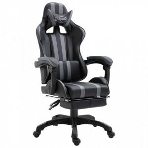 Scaun pentru jocuri cu suport picioare, gri, piele ecologica - V20220V