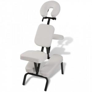 Scaun pliabil pentru masaj Alb - V110102V