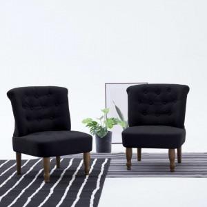 Scaun stil frantuzesc, negru, material textil - V282127V