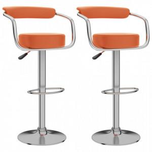 Scaune de bar, 2 buc., portocaliu, piele ecologica - V323223V