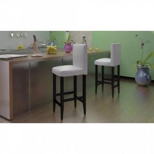 Scaune de bar, 4 buc., alb, piele ecologica - V160719V