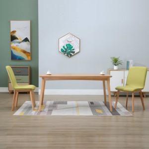 Scaune de bucatarie 2 buc., verde, textil & lemn stejar masiv - V249059V