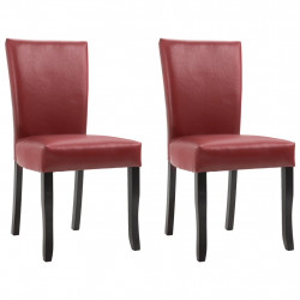 Scaune de sufragerie, 2 buc., rosu vin, piele ecologica - V249042V