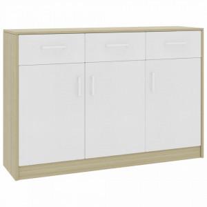 Servanta, alb si stejar Sonoma, 110 x 34 x 75 cm, PAL - V800707V
