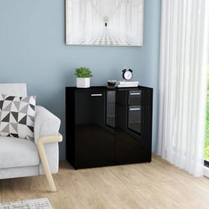Servanta, negru extralucios, 80 x 36 x 75 cm, PAL - V801839V