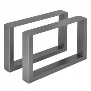 Set 2 bucati picioare masa/mobilier Model 5, 64 x 40 cm, metal, gri metal - P57353523