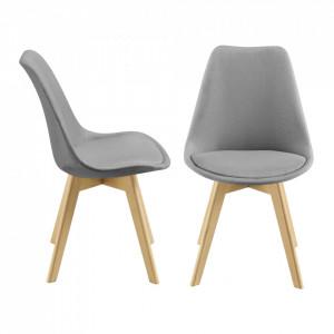 Set 2 bucati scaune bucatarie Frederikstad HG, 97 x 42 x 48 cm, poliester/lemn de fag, gri deschis - P71663196