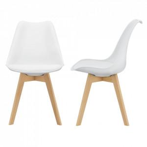 Set 2 bucati scaune design Tori, 81 x 49 x 57cm, imitatie piele, lemn de fag, alb - P67291227