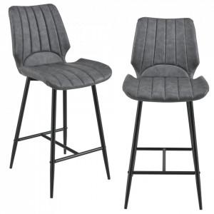 Set 2 scaune bar Noni 2, 102,5 x 46,5 cm, metal/imitatie piele, gri inchis - P58025654