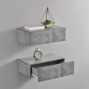 Set 2 x comoda suspendata cu 2 sertare Model 5, MDF, 46 x 30 x 15 cm,- efect beton - P56253870