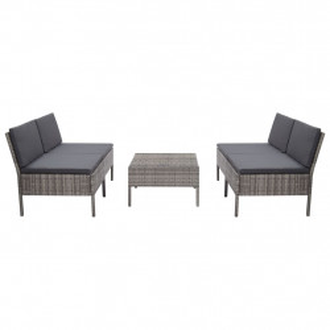 Set canapele de gradina cu perne, 5 piese, gri, poliratan - V48946V