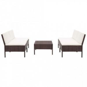 Set canapele de gradina cu perne, 5 piese, maro, poliratan - V48943V