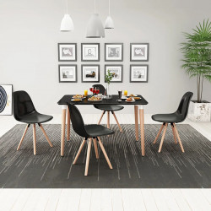 Set cu masa si scaune de bucatarie, cinci piese, negru - V243556V