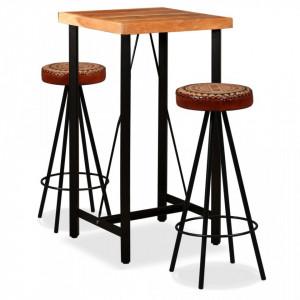 Set de bar, 3 buc., lemn masiv acacia, piele naturala si panza - V275129V