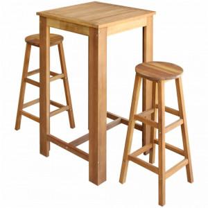 Set masa si scaune de bar, 3 piese, lemn masiv de acacia - V246666V