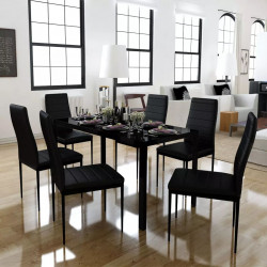 Set masa si scaune de bucatarie 7 piese, negru - V242987V