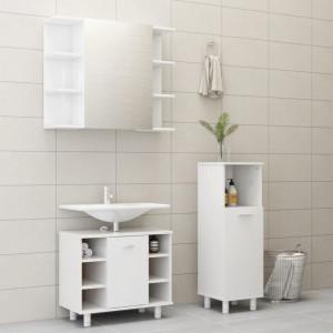 Set mobilier baie, 3 piese, alb extralucios, PAL - V3056949V