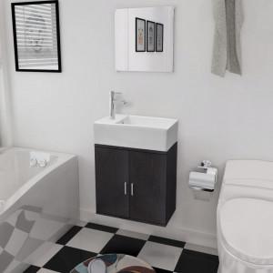 Set mobilier baie format din 3 piese cu chiuveta inclusa, Negru - V272227V