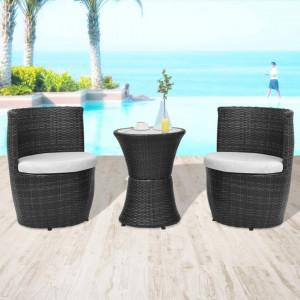 Set mobilier bistro cu perne, 3 piese, negru, poliratan - V43112V