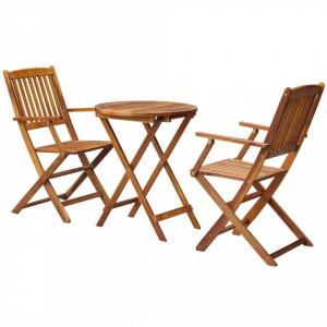 Set mobilier bistro pliabil, 3 piese, lemn masiv de acacia - V43381V