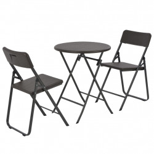Set mobilier de bistro pliabil 3 piese maro HDPE aspect ratan - V44555V