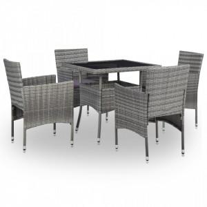 Set mobilier de exterior, 5 piese, gri, poliratan si sticla - V46174V