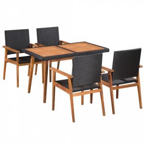 Set mobilier de exterior, 5 piese, negru si maro, poliratan - V44075V